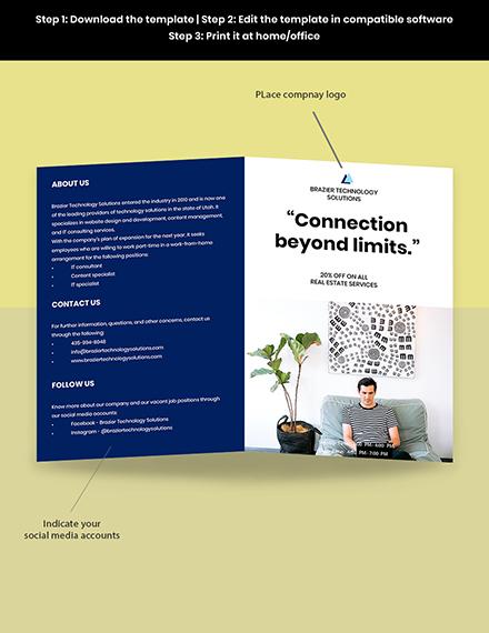 Work From Home Hiring Bifold Brochure Template Editable