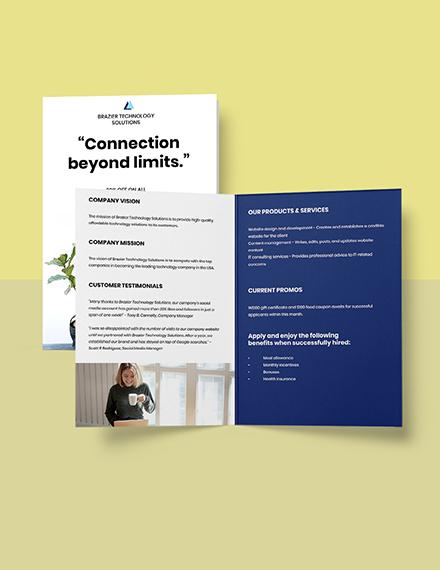 Work From Home Hiring Bifold Brochure Template Sample