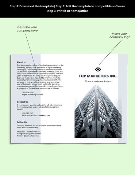 Work From Home Bifold Job Brochure Template sample