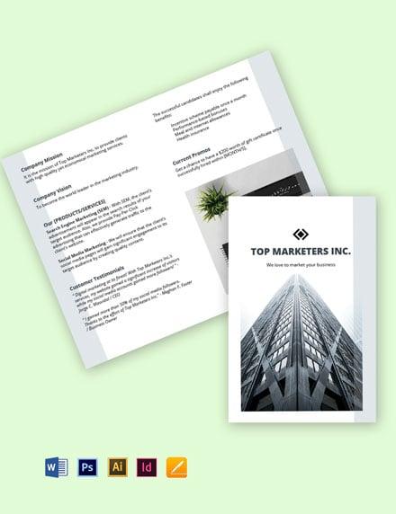 Work From Home Bifold Job Brochure Template