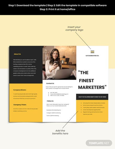 Work From Home Trifold Job Brochure Guide