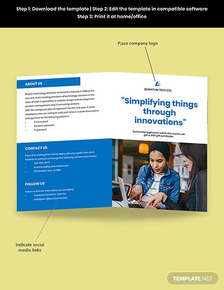 Working at Home Bifold Brochure Template Snippet