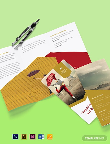 Working at Home Trifold Brochure Template