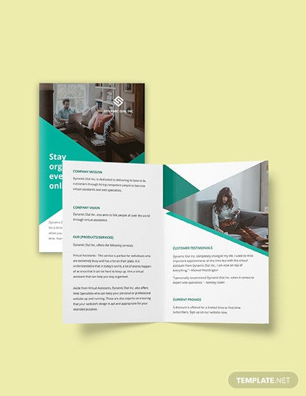 Bifold Work Online From Home Brochure Template  Format