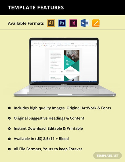 Bifold Work Online From Home Brochure Template  Instruction