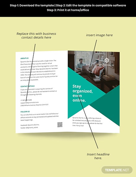 Bifold Work Online From Home Brochure Template  Sample
