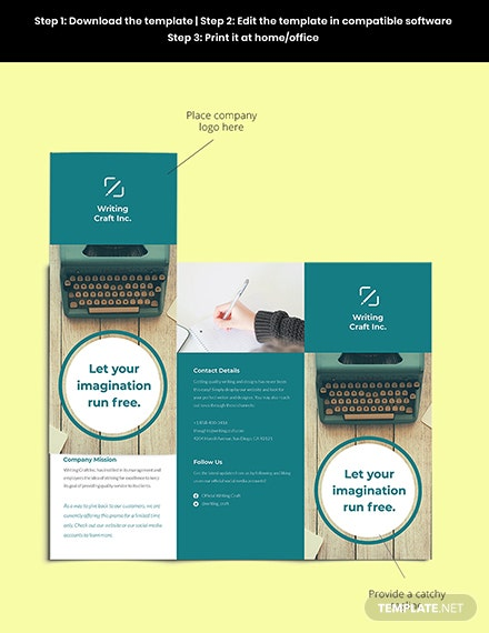 Trifold Work Online From Home Brochure Template Sample