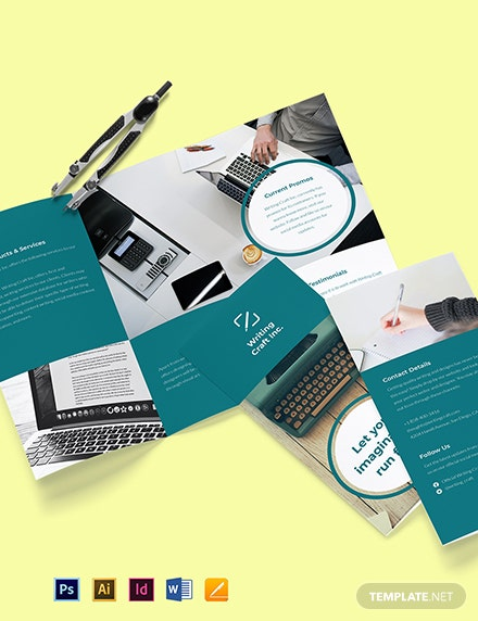 Trifold Work Online From Home Brochure Template