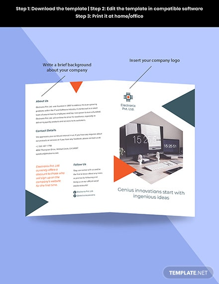 Stay Safe Work From Home Bifold Brochure Template Sample