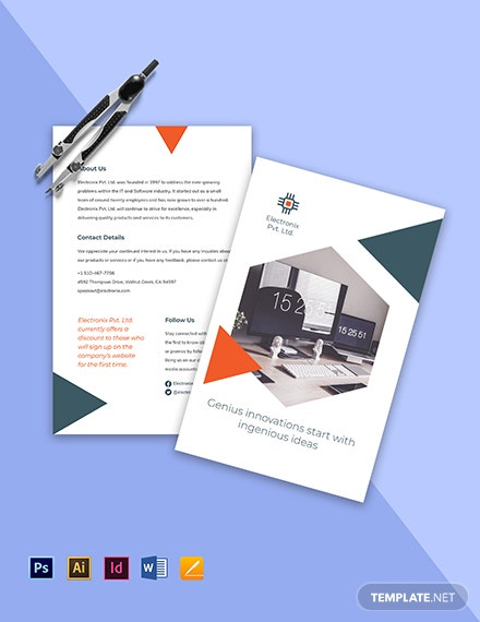 Stay Safe Work From Home Bifold Brochure Template