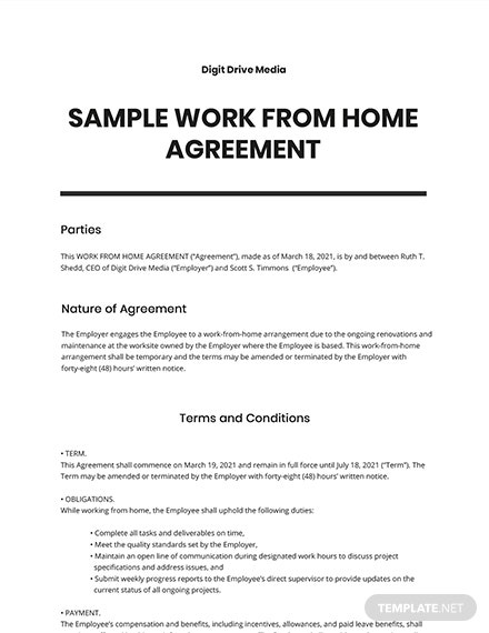 Free Sample Work From Home Agreement Template