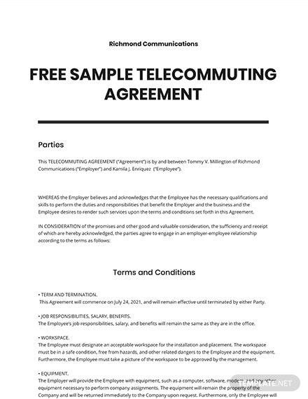 Free Sample Telecommuting Agreement Template