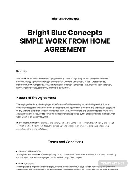 Free Simple Work From Home Agreement Template