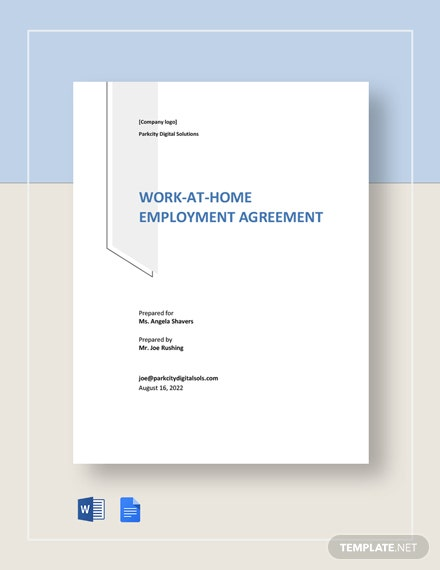Work-At-Home Employment Agreement Template
