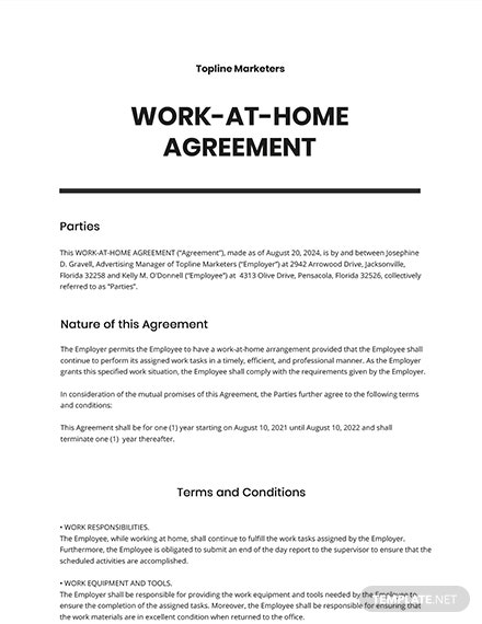 Work-at-Home Agreement Template