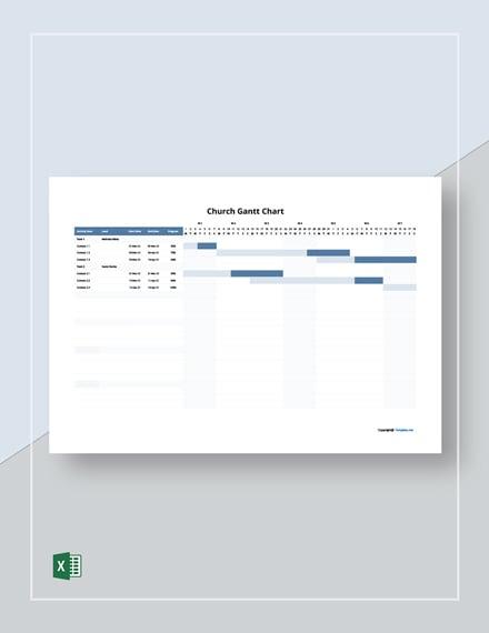 Free Editable Church Gantt Chart Template