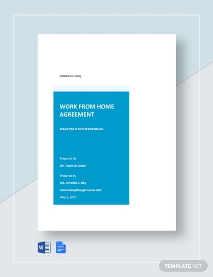 Simple Work From Home Agreement Template