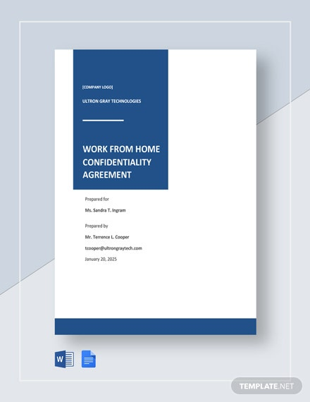 Work from Home Confidentiality Agreement Template