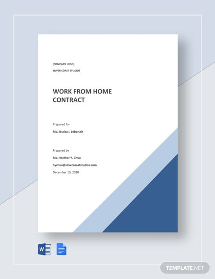 Free Sample Work From Home Contract Template