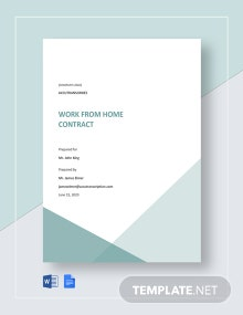 Free Simple Work From Home Contract Template