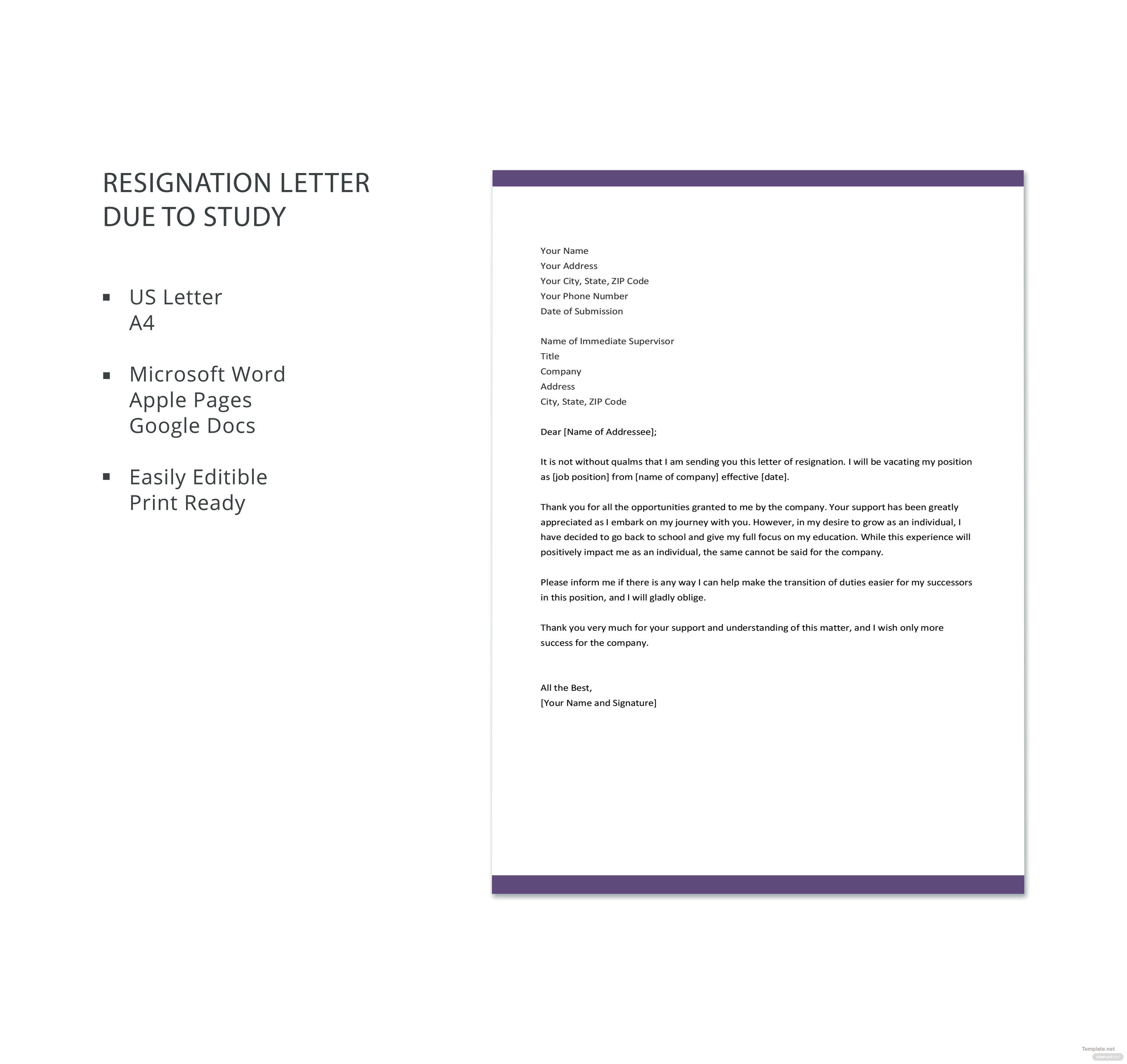Free resignation letter template due to study in microsoft word free resignation letter template due to study expocarfo