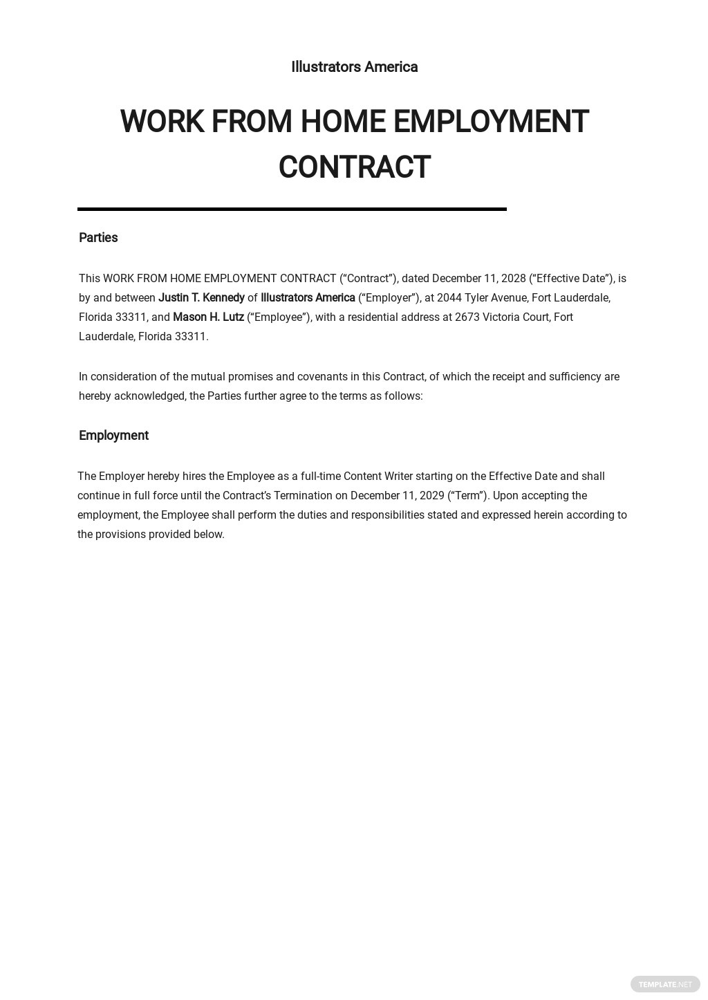 Work From Home Employment Contract Template