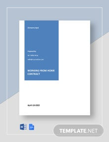 Working at Home Contract Template