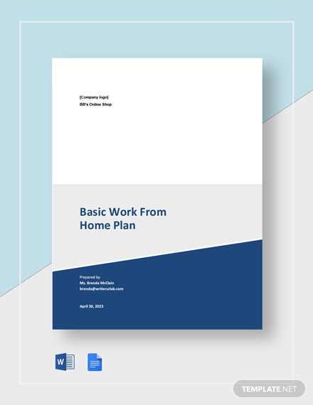 Free Basic Work From Home Plan Template