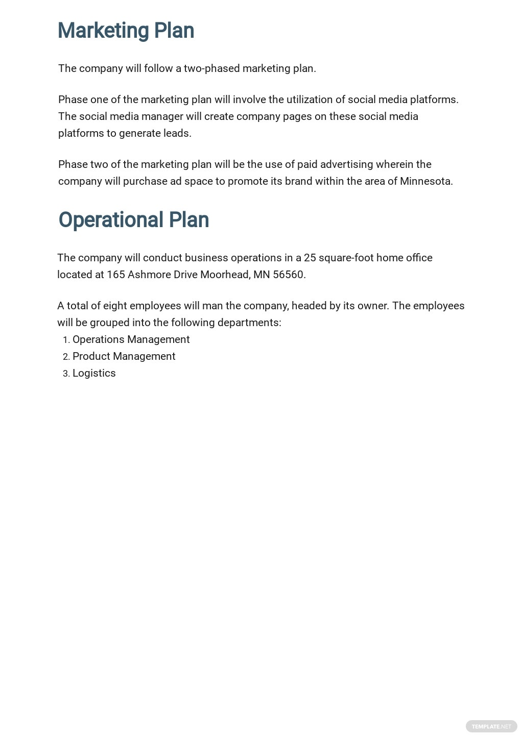 Free Sample Work From Home Business Plan Template 4.jpe