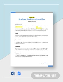 Free One Page Work From Home Plan Template