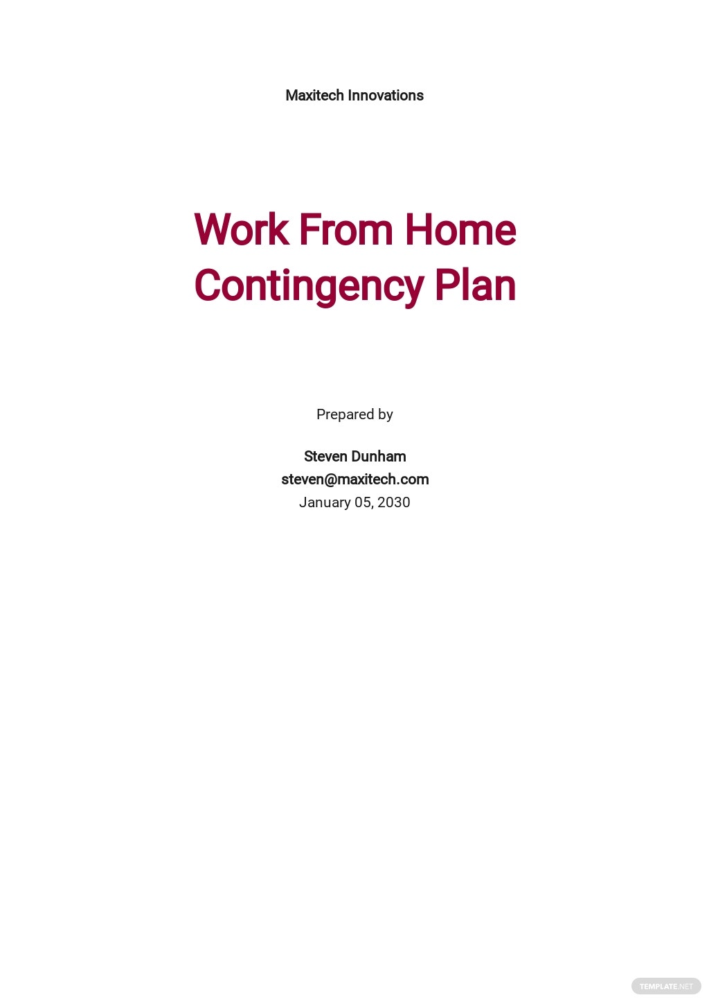 Work From Home Contingency Plan Template.jpe