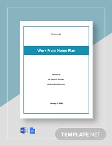 Work From Home Contingency Plan Template