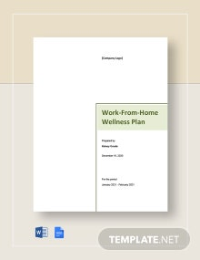 Work From Home Wellness Plan Template