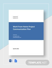 Work From Home Project Communication Plan Template