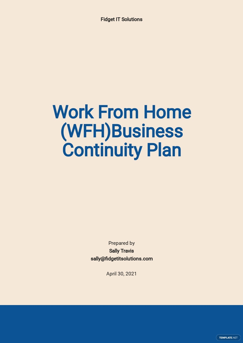 Work From Home Business Continuity Plan Template