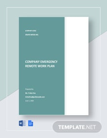 Company Emergency Remote Work Plan Template