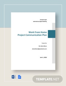 WFH Project Communication Plan Template