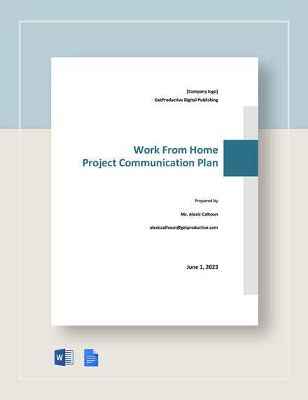 WFH Project Communication Plan Template