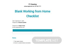 Free Blank Working from Home Checklist Template