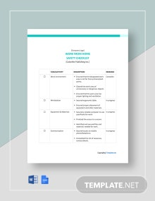 Work From Home Safety Checklist Template