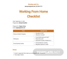 Working From Home Checklist Template