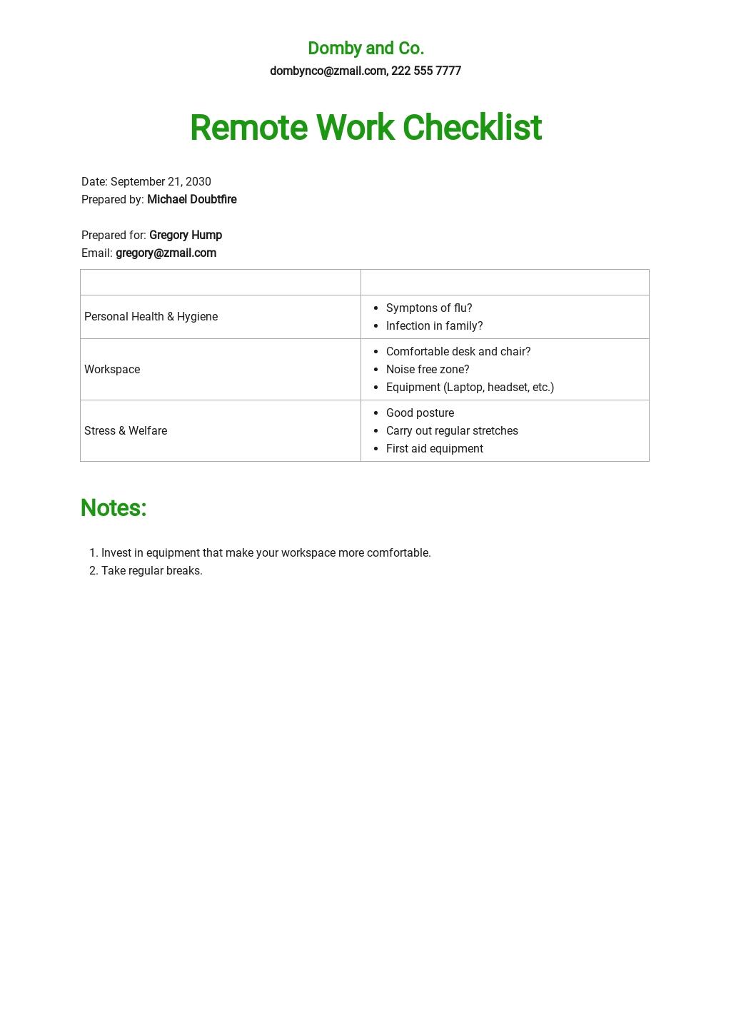 Remote Work Checklist Template