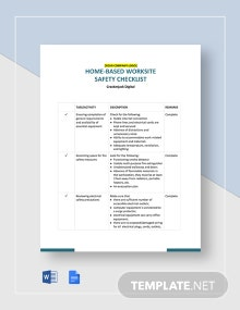 Home Based Worksite Safety Checklist Template