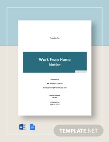 Free Sample Work From Home Notice Template