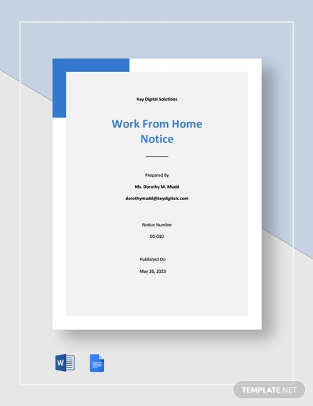 Free Simple Work From Home Notice Template