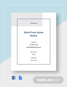 Free Basic Work From Home Notice Template