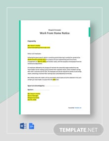 Free One Page Work From Home Notice Template
