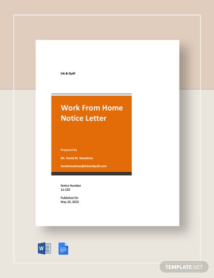 Work From Home Notice Letter Template