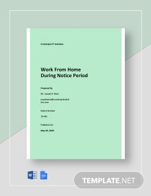 Work From Home During Notice Period Template
