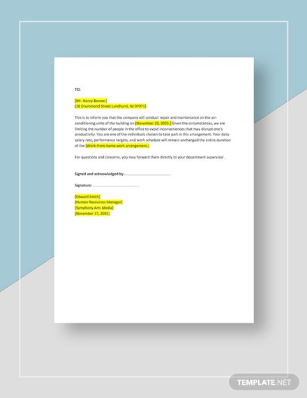 Employee Work From Home Notice Template